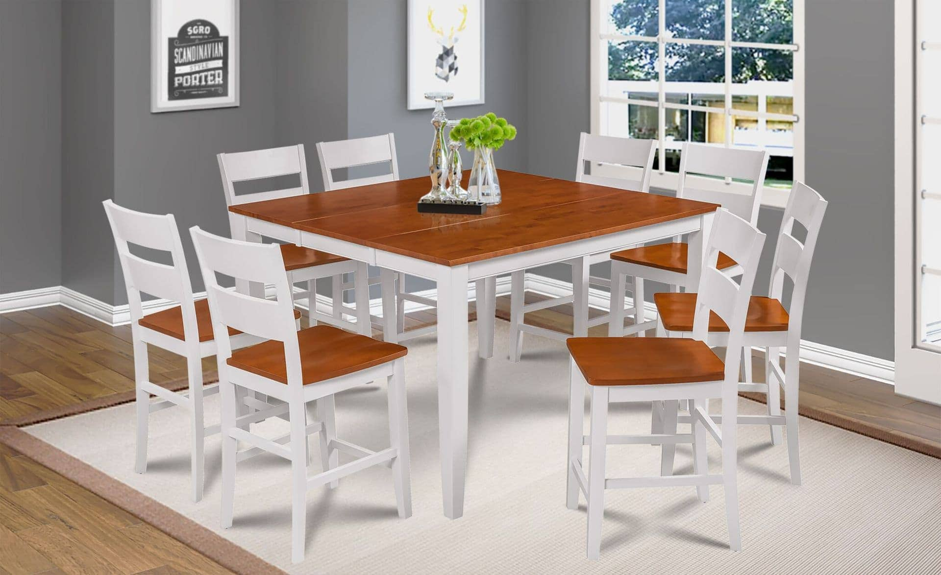 Fullerton Counter Height 7 Piece Dining Set In White Cherry