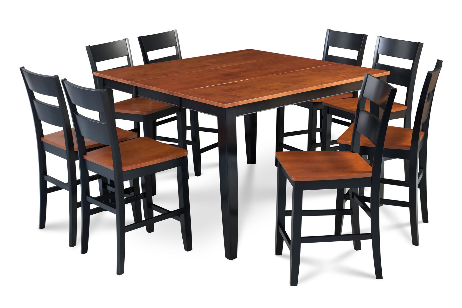 Fullerton Counter Height Cherry Seat Chair In Black 2 Piece Set