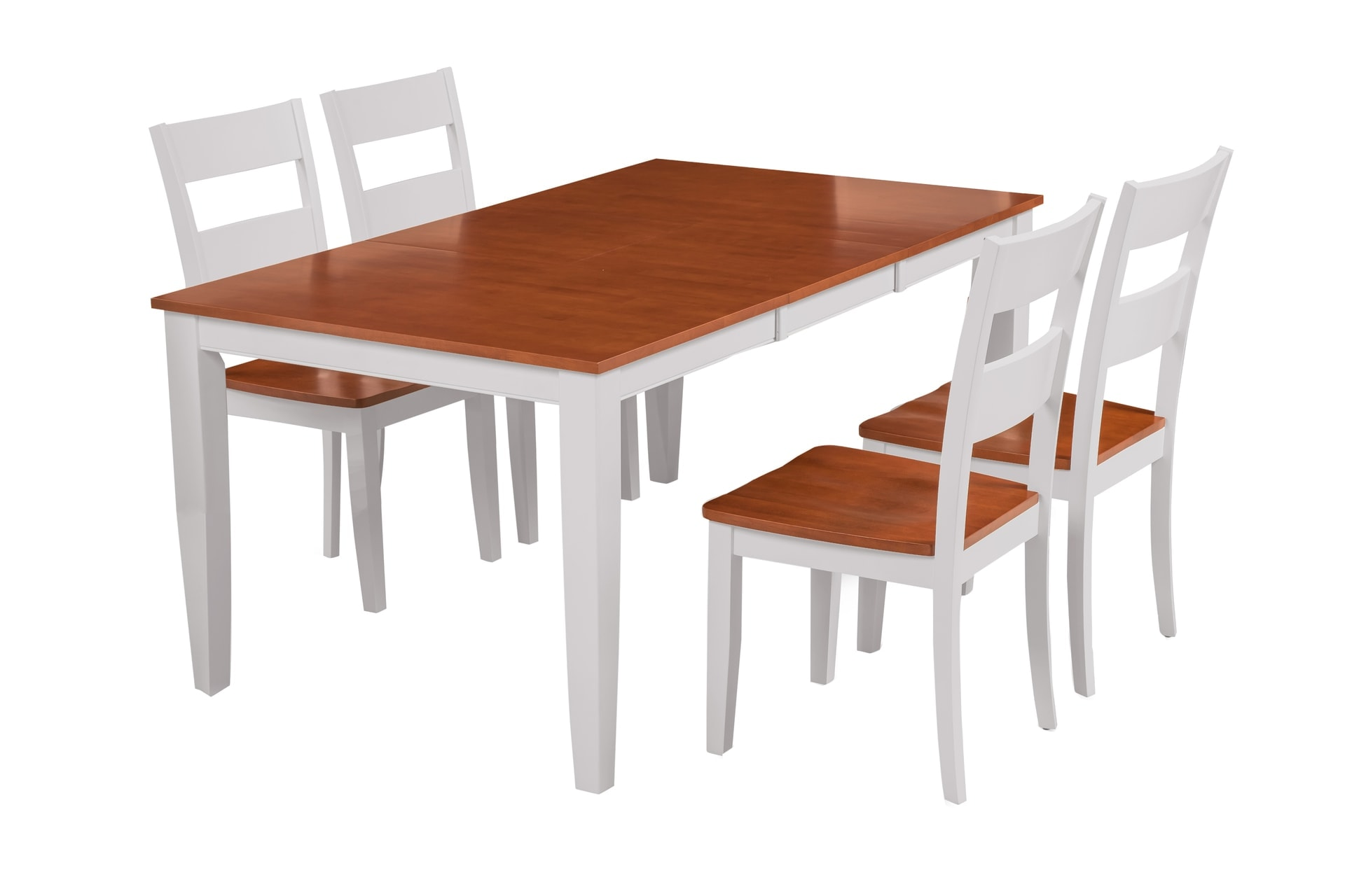 Fullerton White And Cherry Top Solid Wood Extendable Table 5 Piece Dining Set