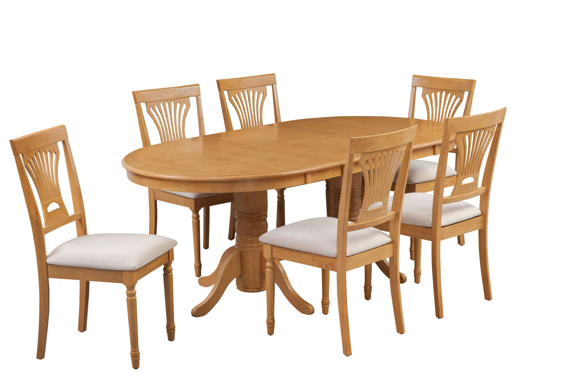 Portland Solid Wood Dining Set Of 7 With Donwego Table In Oak Finish