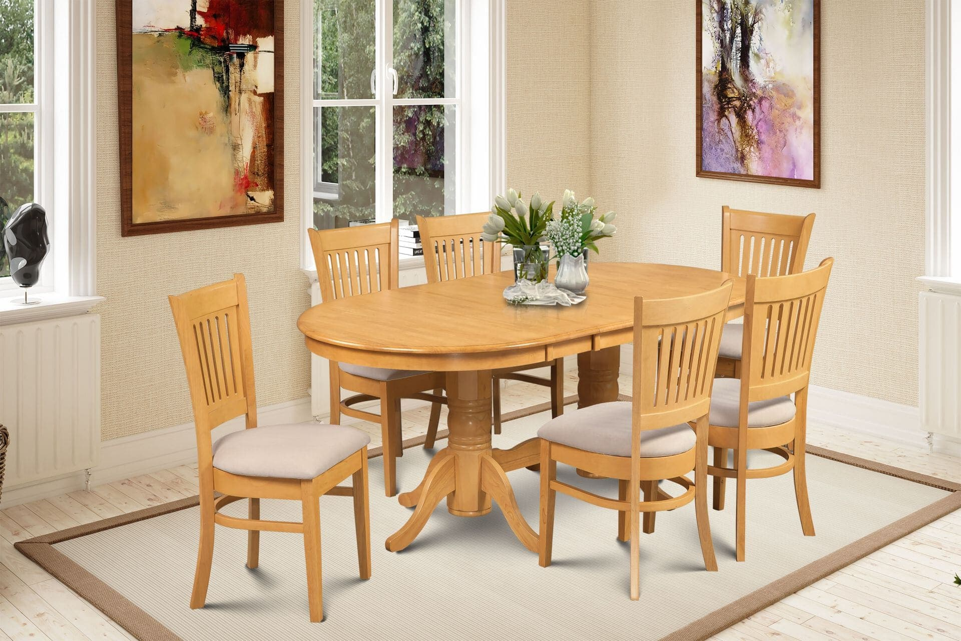 Delano Set Of 7 Bellingham Upholstered Seat Dining Chair