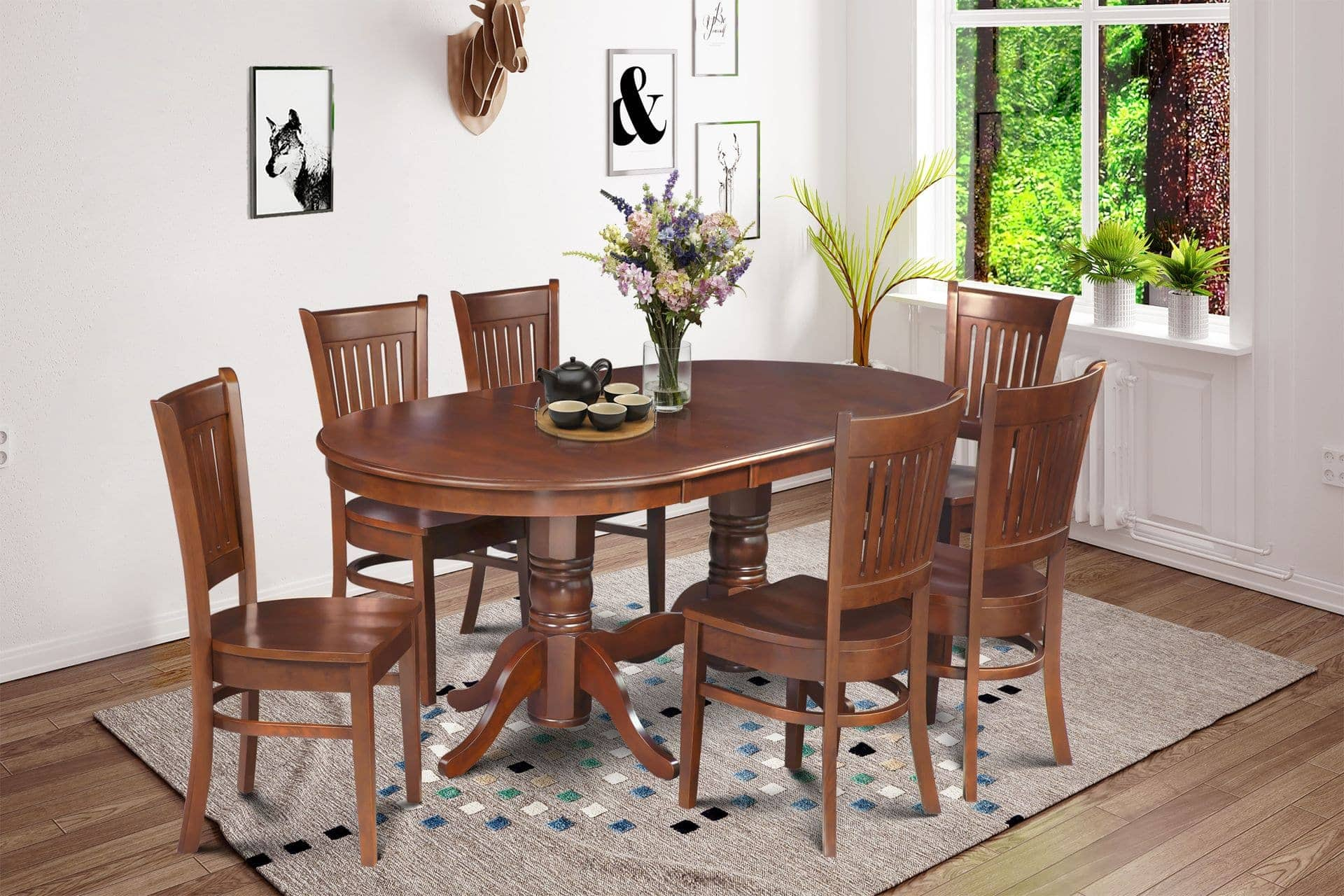 Delano Set Of 7 Bellingham Dining Wood Seat