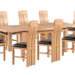 Doris Solid American Oak 9 Piece Dining Set With Portland 2800 Extendable Table