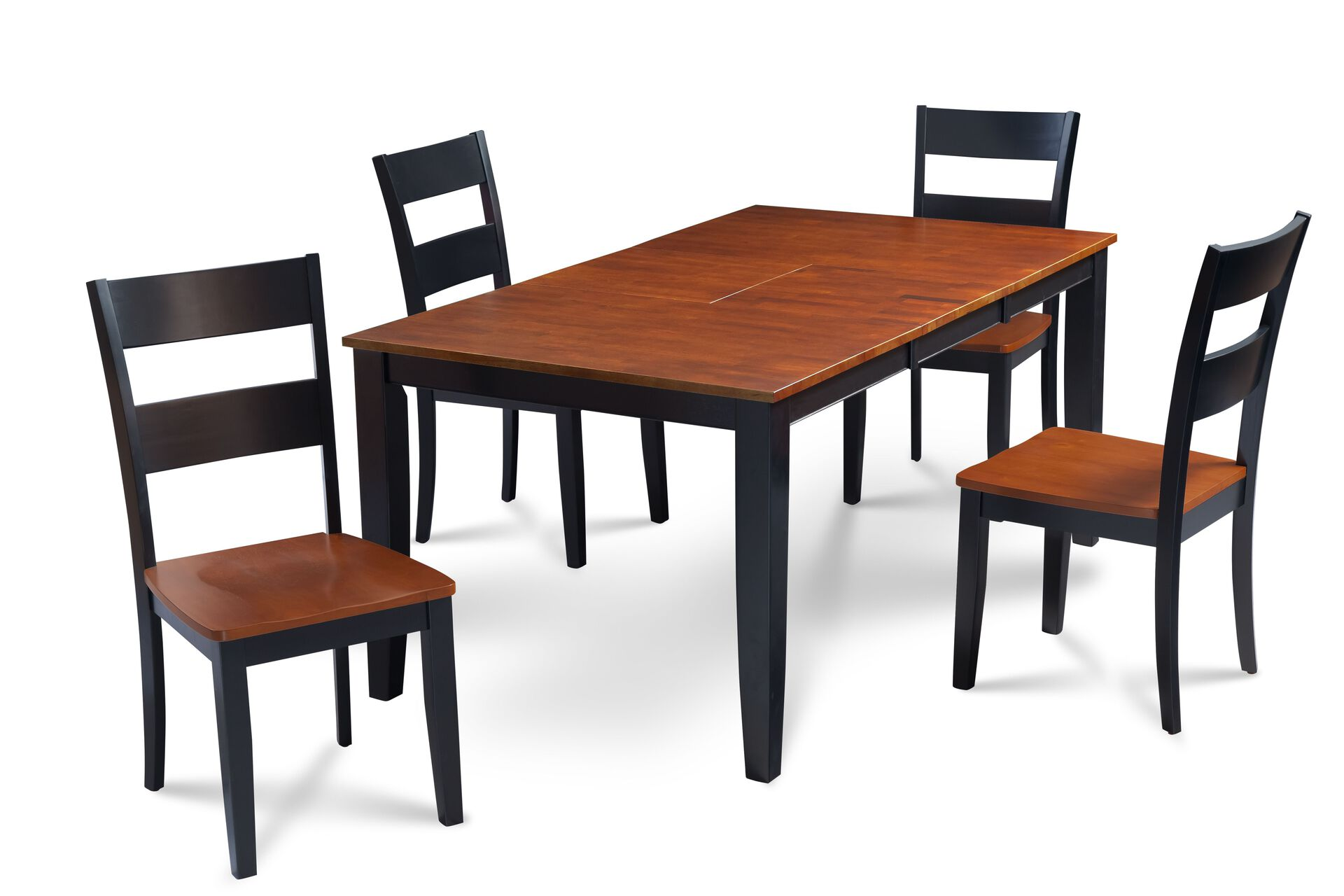 Fullerton Black And Cherry Top Solid Wood Extendable Table 5 Piece Dining Set Trithi Furniture